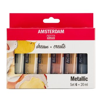 AMSTERDAM Standard Acrylics 6 x 20ml Metallic Set
