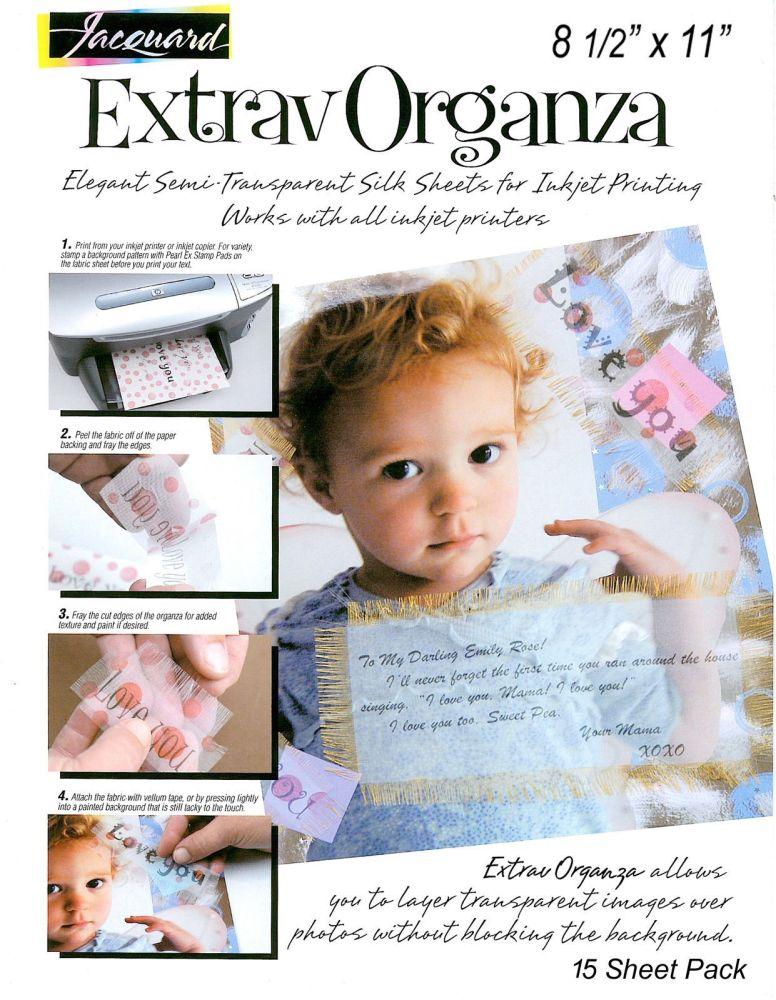 <!--001.6-->Jacquard Extravorganza Inkjet Organza  - Pack of 15 Sheets