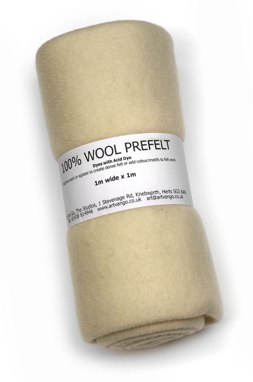 100% Wool Prefelt White 1m x1m