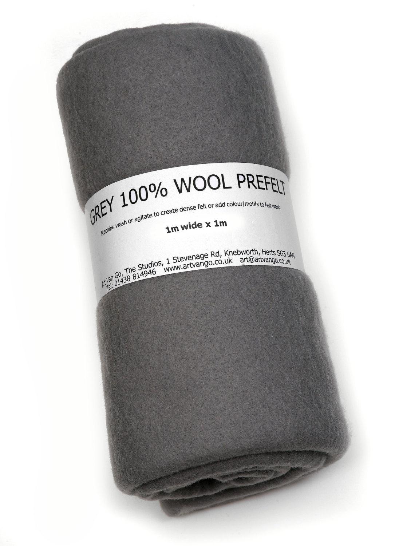 100% Wool Prefelt Grey 1x1m