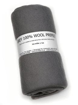 100% Wool Prefelt Grey 95-97cmx1m