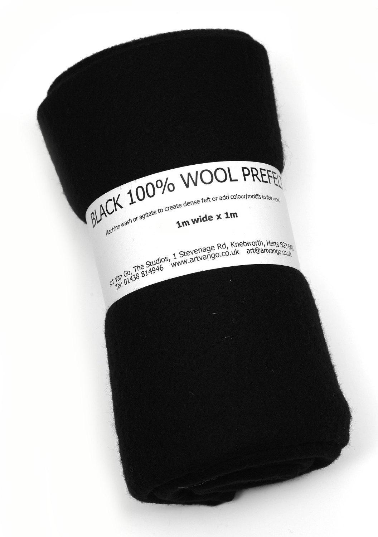 100% Wool Prefelt Black 1x1m