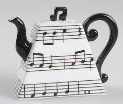 music stave tea pot