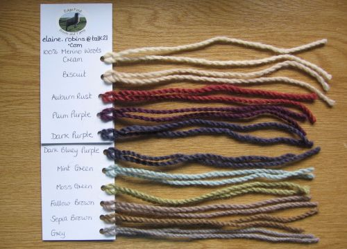 Samples of Wool and Yarn Short Lengths to see colour thickness softness Swatches