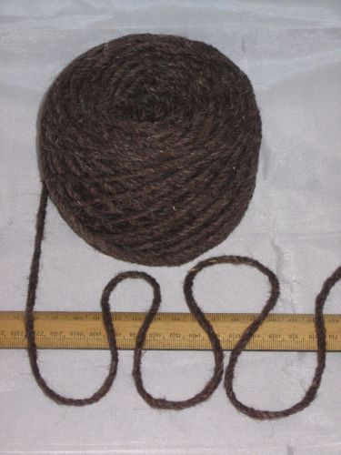 100g ball DARK BROWN Chunky 100% Pure Wool British Breed for knitting or rug making EFW422