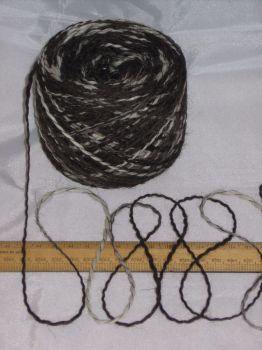 100g 100% pure undyed British Jacob knitting wool dk Brown & Cream thick & thin