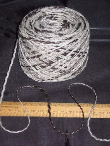 100g Cream & Brown 100% pure undyed British Jacob knitting wool dk thick & thin