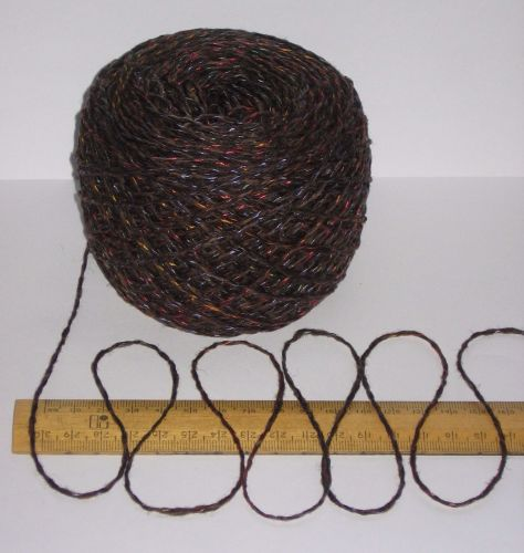 100g Brown 100% British Wool Double knitting yarn dk with a multi coloured thread running throughout