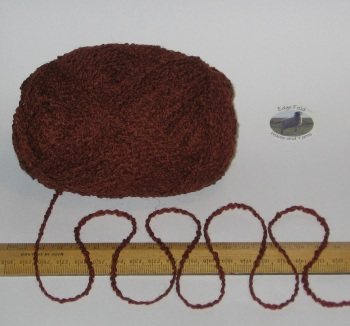 100g Rich Brown Boucle 100% Pure British Breed Wool double knitting dk yarn EFW 808