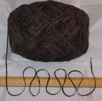 100g ball Dark Brown 4 ply British Chenille knitting wool yarn soft