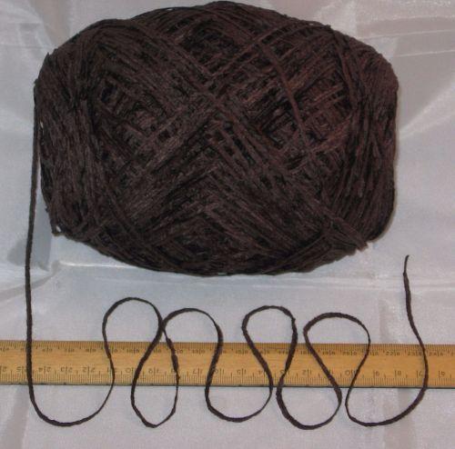100g ball Dark Brown 4 ply British Chenille knitting wool yarn soft
