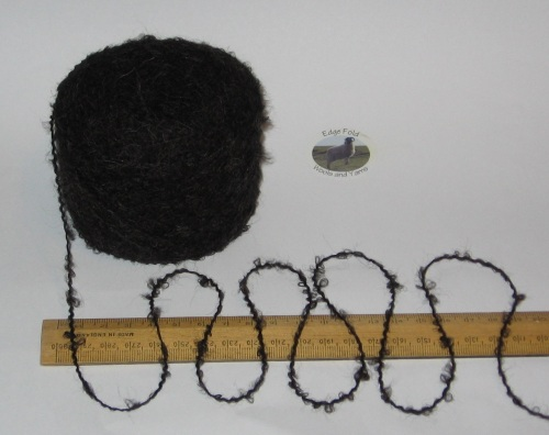 50g ball Black with a hint of grey brown 4 ply boucle knitting wool acrylic yarn
