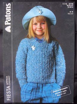 "Paper Vintage Knitting Pattern 1980s Patons 3119 Girl's Chunky V Neck Sweater 22""-30"""