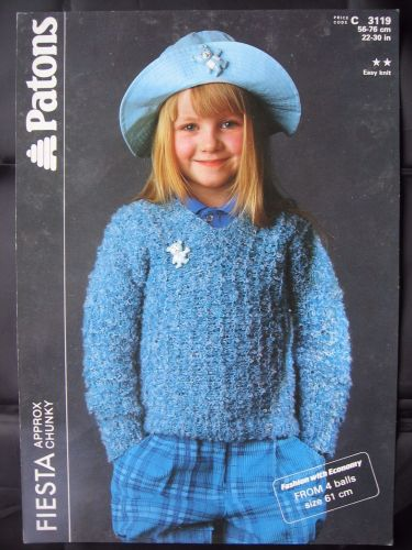 Paper Vintage Knitting Pattern 1980s Patons 3119 Girl's Chunky V Neck Sweater 22