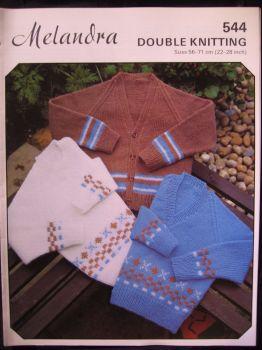 "Paper Knitting Pattern Vintage Melandra 544 Children's Cardigan & Sweater DK 22"" - 28"""