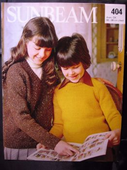 "Paper Knitting Pattern Vintage Sunbeam 404 Sweater Childrens Boys Girls 26""- 34"""