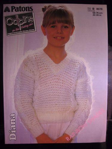Paper Knitting Pattern Vintage 80s Paton Odpins 8078 Girl's V neck Sweater 22-30