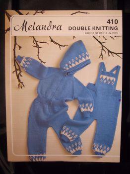 Paper Knitting Pattern Vintage 80s Melandra 410 Dungarees & All in 1 Jumpsuit DK