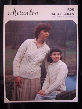 Paper 80s Vintage Knitting Pattern Melandra 529 Aran Sweater for Ladies & Girls