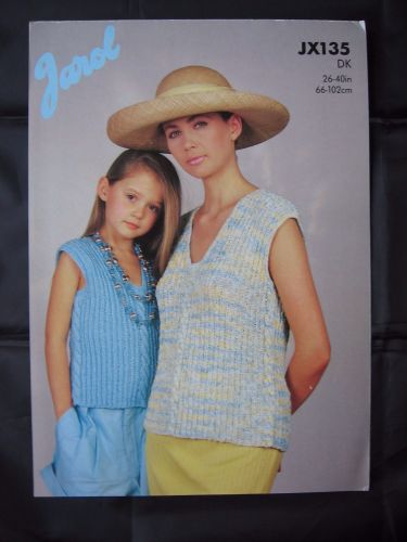 Paper Knitting Pattern Vintage 80s Jarol JX135 Sleeveless Cable Top women Girls