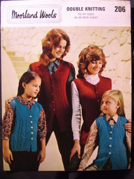 Knitting Pattern Vintage 1970s Moorland Wools 206 Sleeveless Cardigan Ladies Children Lady's