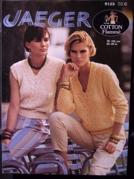 Paper Knitting Pattern ~Vintage 80s Jaeger 5123 Cable Panel Sweater & Top Ladies