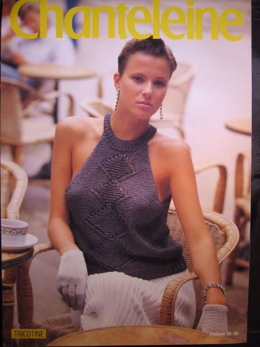 Paper Knitting Pattern Vintage 80s Chanteleine 35 Ladies Women's Sun Top 32
