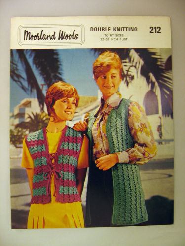 Paper Crochet Pattern Vintage 1970s Moorland 212 Ladies Sleeveless Cardigan
