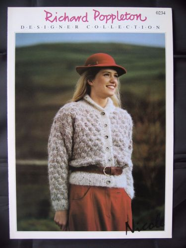 Paper Knitting Pattern Vintage 80s Poppleton 0234 Ladies Women's Mohair Cardigan