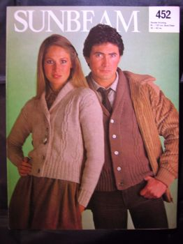 Knitting Pattern ~ Vintage 1980s Sunbeam 452 DK Cardigan Men Mens Women Ladies Lady's