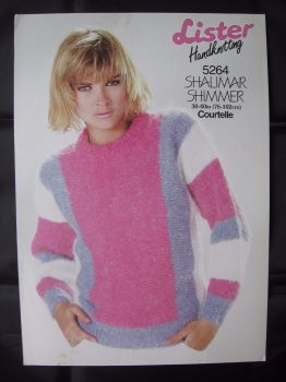 "Knitting Pattern ~ Vintage 80s Lister 5264 Ladies Women's Sweater 30""- 40"" Lady's"