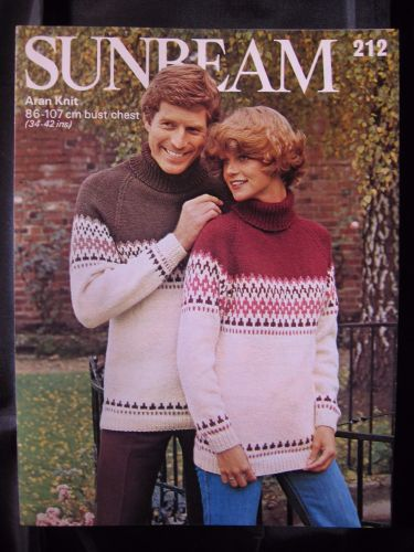 Paper Knitting Pattern ~ Vintage 1980s Sunbeam 212 Aran men's & women's Sweater