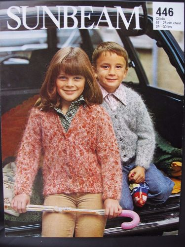 Paper Knitting Pattern Vintage 80s Sunbeam 446 Girl's Boy's Cardigan Children's