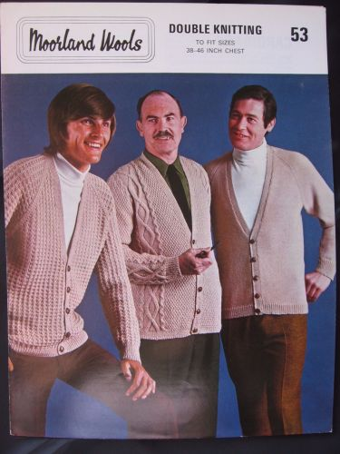 Paper Knitting Pattern 1970s Moorland Wools 53 Men's Gents Cardigan separate patterns for DK or 4 ply