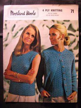 Crochet Pattern Vintage 70s Moorland 71 Ladies Sleeveless top & Cardigan Twinset