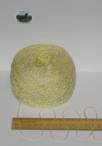 100g ball Yellow & Cream marl wavy boucle double knitting dk wool cotton acrylic