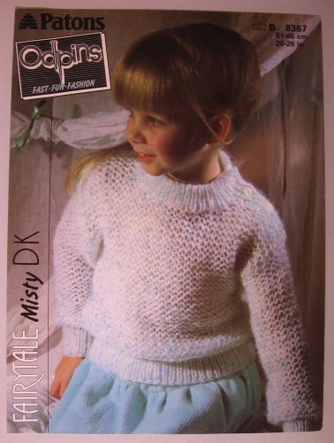 Paper Knitting Pattern Vintage 1980s Patons Odpins 8367 Girls Girl's Sweater DK