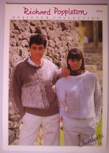 Paper Knitting Pattern Vintage 80s Poppleton 0314 Ladies Women's & Men's Sweater