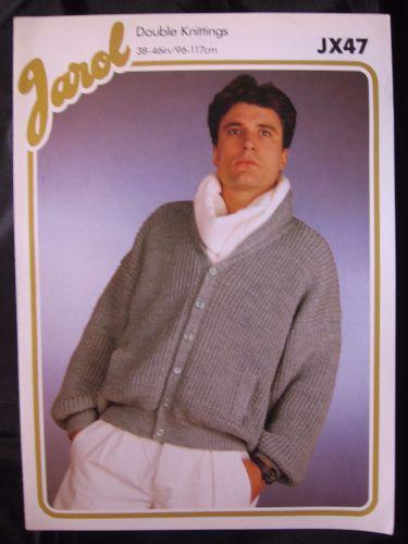 Paper Knitting Pattern ~ Vintage Men's Rolled Neck Jacket Cardigan dk Jarol JX47