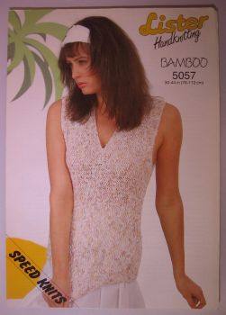 Paper Knitting Pattern Vintage 80s Lister 5057 Ladies Women's Sleeveless Top DK