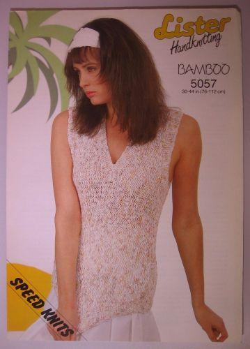 Paper Knitting Pattern Vintage 80s Lister 5057 Ladies Women's Sleeveless Top DK