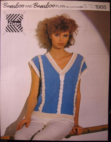 Paper Knitting Pattern ~ Vintage 1980s Lister 1988 Womens Sleeveless Top Cable