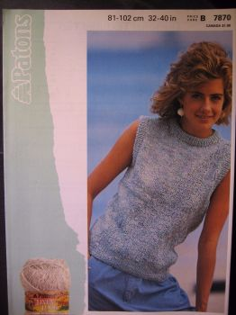 "Paper Knitting Pattern Vintage 1980s Patons 7870 for Womens Lady's Summer Top 32"" - 40"""