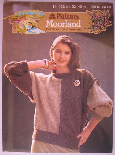 Paper Knitting Pattern Vintage 1980s Patons Moorland 7470 Womens Lady's Sweater 32