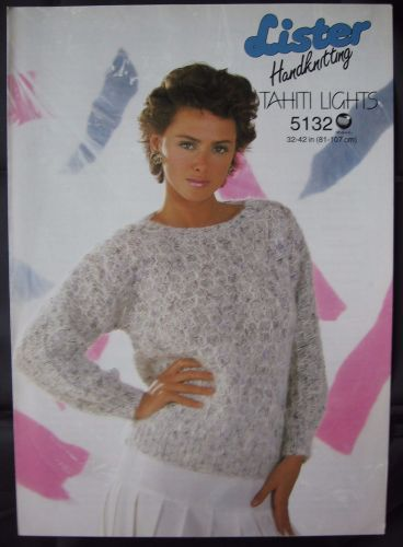 Knitting Pattern Vintage 1980s Lister 5132 Ladies Women's Mohair Sweater Lady's
