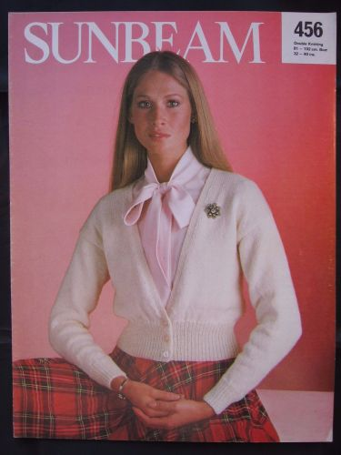 Paper Knitting Pattern ~ Vintage 1980s Sunbeam 456 DK Cardigan Women Ladies Lady