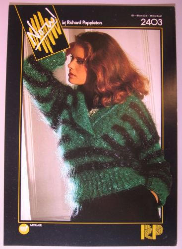 Paper Knitting Pattern Vintage Poppleton 2403 Women's Mohair Sweater with collar