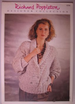 Paper Knitting Pattern ~ Vintage 80s Poppleton 0296 Lady Ladies Women's Sweater
