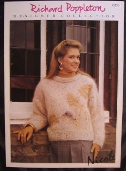 Knitting Pattern ~ Vintage 1980s Poppleton 0233 Ladies Women's Mohair Sweater