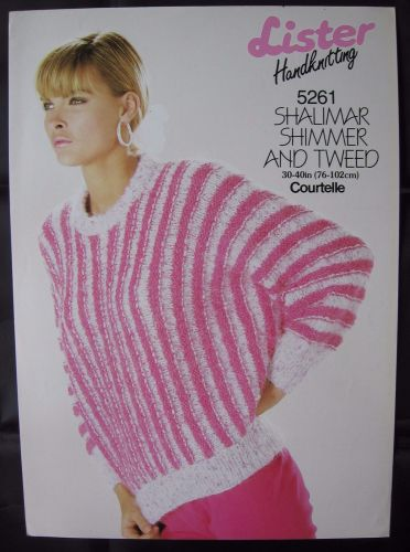 Knitting Pattern Vintage 80s Lister 5261 Ladies Women's Sweater 30